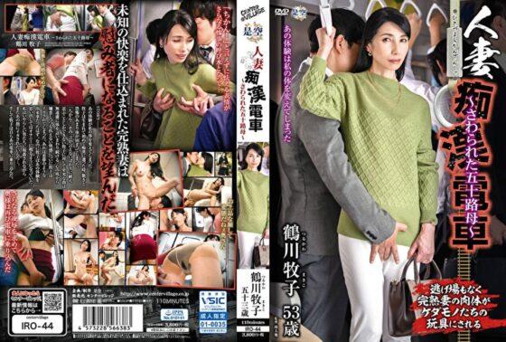鶴川牧子が出演した「人妻痴●電車 ~さわられた五十路母~」のジャケット